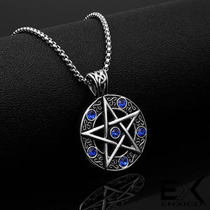 ENXICO Pentacle Amulet Pendant Necklace with Blue Stone ? 316L Stainless Steel ? Wicca Pagan Witchcraft Jewelry
