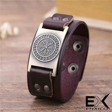 Load image into Gallery viewer, ENXICO Vegvisir Viking Runic Compass Leather Bangle Bracelet ? Nordic Scandinavian Viking Jewelry ? Black + Bronze
