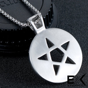 ENXICO Tetragrammaton Circle Devil's Trap Pentagram Pendant Necklace ? 316L Stainless Steel ? Wicca Pagan Witchcraft Jewelry
