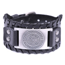 Load image into Gallery viewer, ENXICO Vegvisir Viking Runic Compass with Rune Circle Braided Leather Bangle Bracelet ? Nordic Scandinavian Viking Jewelry ? Black + Silver