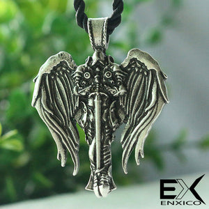 ENXICO Guardian Angel Knight Figure Amulet Pendant Necklace ? Silver Color