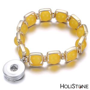 HoliStone Natural Stone Bracelet with Snap Button ? Stress Diffuser Energy Balancing Lucky Charm Bracelet for Women and Men