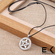 Load image into Gallery viewer, ENXICO Runic Pentacle Amulet Pendant Necklace with Rune Circle Surrounding ? Silver Color ? Wicca Pagan Witchraft Jewelry