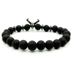 HoliStone Punky Style Lava Stone Beaded Bracelet with Bull Head for Women and Men