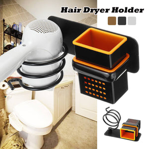 2TRIDENTS Wall Mount Hair Dryer Holder With Cup - Bathroom Accessories Bathroom, Washroom And Restroom (Black)