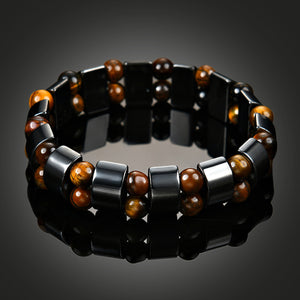 HoliStone Tiger Eye & Hematite Stone Handmade Lucky Charm Bracelet for Women and Men ? Anxiety Stress Relief Yoga Meditation Energy Balancing Lucky Charm Bracelet