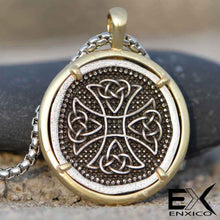 Load image into Gallery viewer, ENXICO Celtic Cross Amulet Pendant Necklace ? Stainless Steel - Copper ? Irish Celtic Jewelry