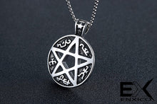 Load image into Gallery viewer, ENXICO Tetragrammaton Circle Devil's Trap Pentagram Pendant Necklace ? 316L Stainless Steel ? Wicca Pagan Witchcraft Jewelry