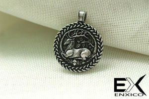 ENXICO Deer with Oak Tree Circle Amulet Pendant Necklace ? Grey Color ? Zodiac Animal Spirit Jewelry