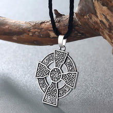 Load image into Gallery viewer, ENXICO Celtic Cross Amulet Pendant Necklace for Women & Men ? Silver Color ? Irish Celtic Jewelry