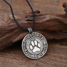 Load image into Gallery viewer, ENXICO Bear Paw Pendant Necklace with Rune Circle Surrounding ? Bronze Color ? Norse Scandinavia Viking Jewelry