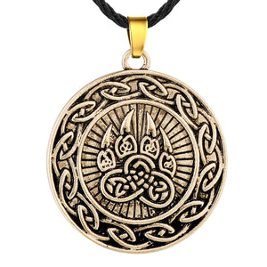 ENXICO Bear Paw Pendant Necklace with Celtic Knot Circle Surrounding ? Gold Color ? Irish Celtic Jewelry