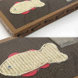 2TRIDENTS Fish Pattern Cat Scratch Board - Help Your Pets to Sharpen and Remove The Dead Outer Layer of Their Claws (42 x 33.5 x 4cm, Fish)