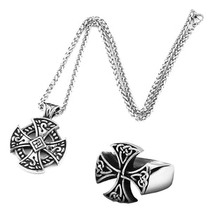 GUNGNEER Irish Celtic Knot Cross Stainless Steel Pendant Necklace Ring Amulet Jewelry Set