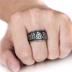 ENXICO Valknut Symbol Ring with Rune Letters ? 316L Stainless Steel ? Norse Scandinavian Viking Jewelry (10)