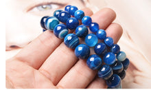 Load image into Gallery viewer, HoliStone 6-12mm Natural Blue Agate Stone Lucky Charm Bracelet for Women and Men ? Yoga Meditation Healing Balancing Energy Bracelet