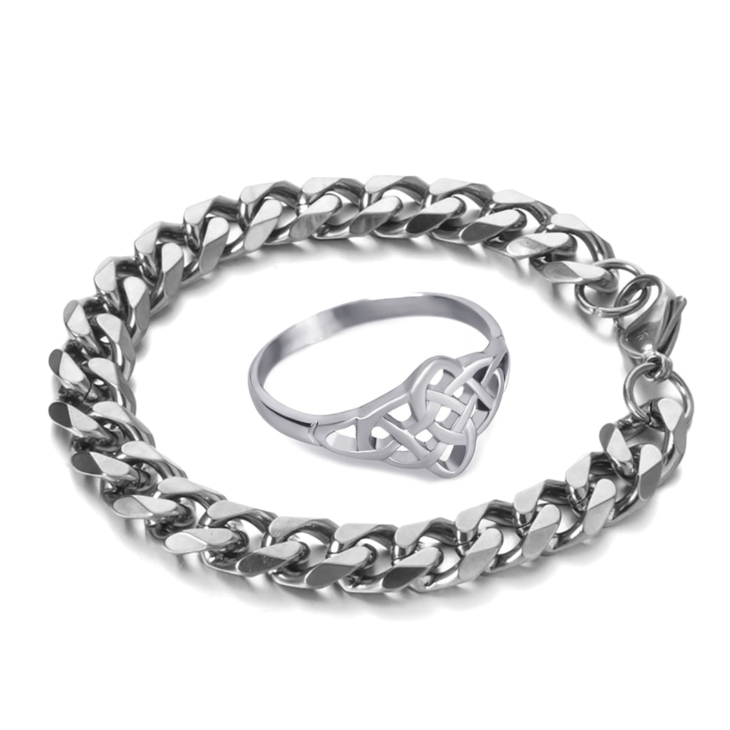 GUNGNEER Celtic Knot Trinity Stainless Steel Ring Curb Chain Bracelet Jewelry Set Men Women