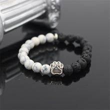 Load image into Gallery viewer, HoliStone Trendy Pitbull Dog Paw Charm with 8mm Lava Stone Stretch Bracelet ? Anxiety Stress Relief Yoga Meditation Energy Balancing Lucky Charm Bracelet for Women and Men