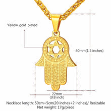 Load image into Gallery viewer, ENXICO Hansa The Hand of Fatima with Star of David Charm Pendant Necklace ? 316L Stainless Steel ? Ancient Jewish Jewelry (Gold)