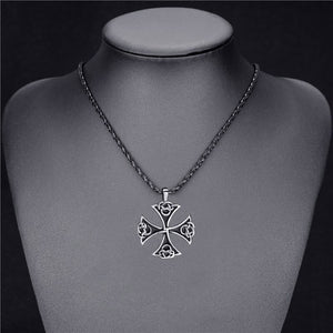 GUNGNEER Stainless Steel Celtic Knot Ring with Cross Necklace Jewelry Accessories Set Men Women