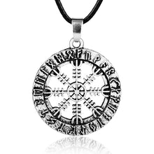 Load image into Gallery viewer, ENXICO Helm of Awe Pendant Necklace with Surrounding Rune Circle ? Nordic Scandinavian Viking Jewelry