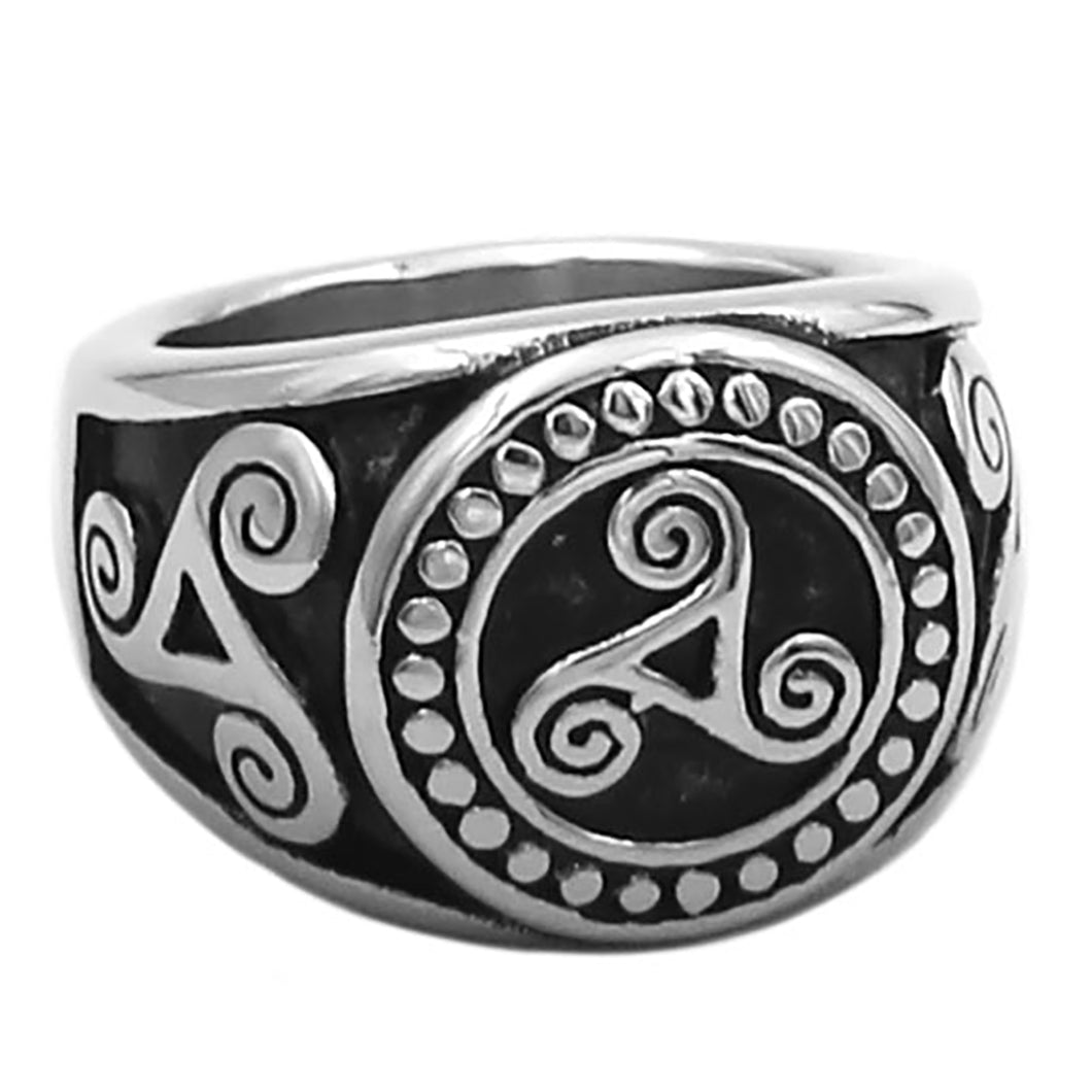 ENXICO Celtic Spiral Symbol Triskele Ring ? 316L Stainless Steel ? Irish Celtic Jewelry