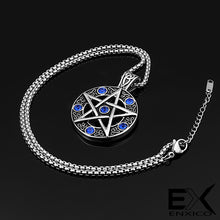 Load image into Gallery viewer, ENXICO Pentacle Amulet Pendant Necklace with Blue Stone ? 316L Stainless Steel ? Wicca Pagan Witchcraft Jewelry