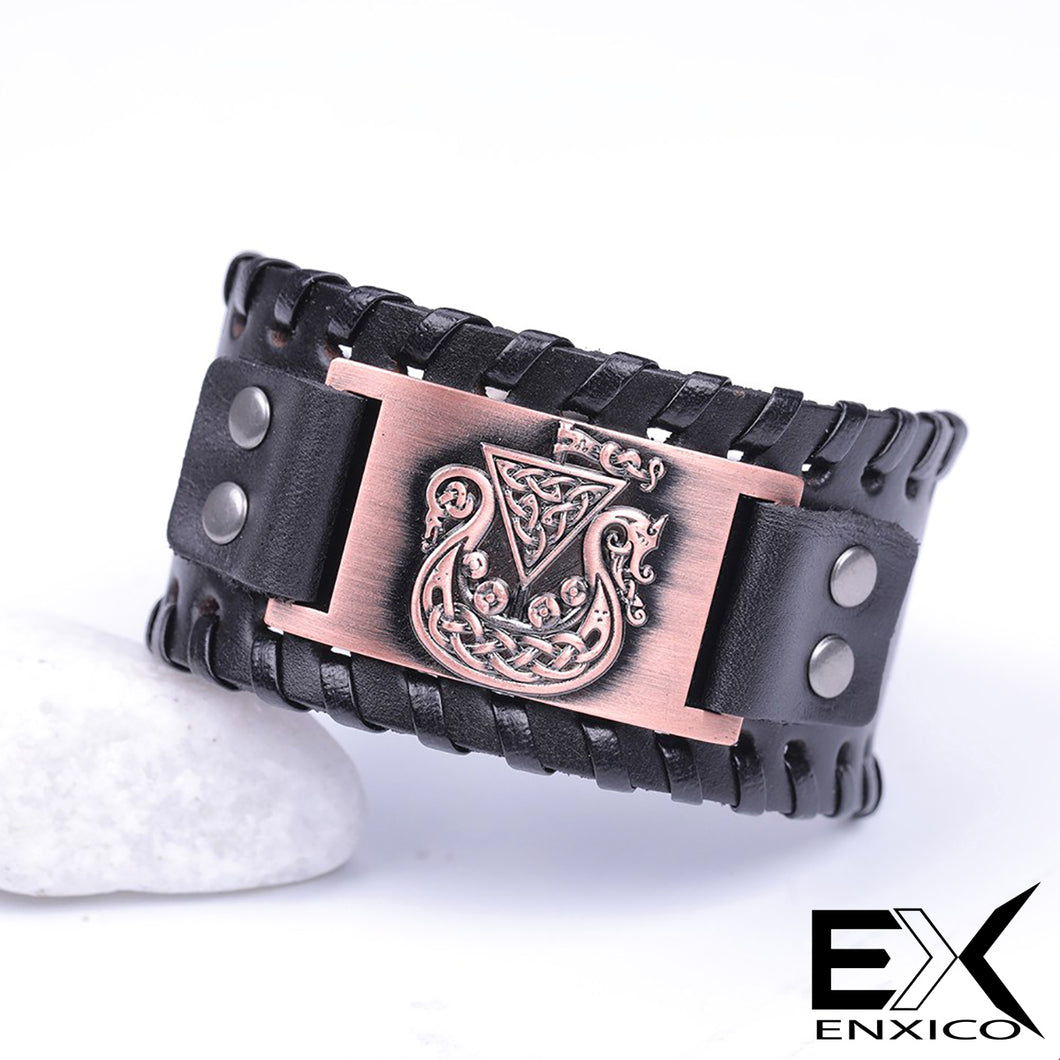 ENXICO Viking Ship Amulet Braided Leather Bangle Bracelet ? Nordic Scandinavian Viking Jewelry ? Black + Copper