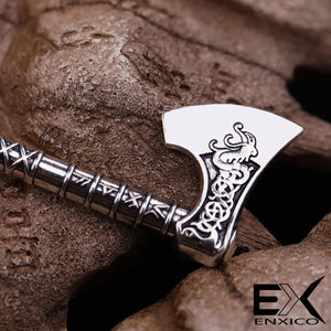 ENXICO Viking Battle Axe with Celtic Knot Pattern Pendant Necklace ? Norse Scandinavian Viking Jewelry ? Bronze Plated