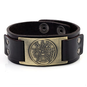 ENXICO Tetragrammaton Pentacle Leather Bangle Bracelet ? Wicca Pagan Witchcraft Jewelry ? Black + Bronze
