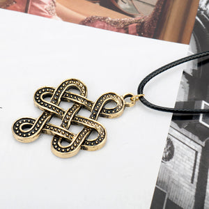 GUNGNEER Celtic Irish Knot Viking Runes Hair Pin Brooch Stick Pendant Necklace Jewelry Set