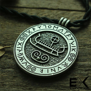 ENXICO Viking Ship Amulet Pendant Necklace with Rune Circle ? Silver Color ? Nordic Scandinavian Viking Jewelry