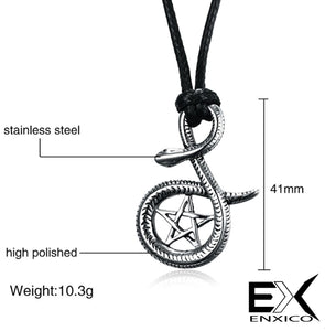 ENXICO Serpent Snake with Pentacle Amulet Pendant Necklace ? 316L Stainless Steel ? Wicca Pagan Witchcraft Jewelry