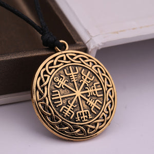 ENXICO Vegvisir Viking Compass Pendant Necklace with Celtic Knot Circle Surrounding ? Bronze Color ? Nordic Scandinavian Viking Jewelry
