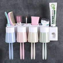 Load image into Gallery viewer, 2TRIDENTS Wall-Mount Toothbrush Toothpaste Squeezer Dispenser Holder - Household Simple Bathroom Storage Box (A)