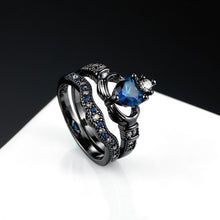 Load image into Gallery viewer, ENXICO Black and Blue Caddagh Heart Ring Set for Women ? 316L Stainless Steel ? Irish Celtic Jewelry (10)