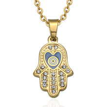 Load image into Gallery viewer, ENXICO Hansa The Hand of Fatima Charm Pendant Necklace ? 316L Stainless Steel ? Ancient Jewish Jewelry
