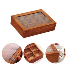 Load image into Gallery viewer, 2TRIDENTS 12 Adjustable Chest Compartments Wooden Multifunctional Storage Box with Glass - Organizer Tray for Crafts,Flowers, Plants, Jewelry and More