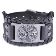 Load image into Gallery viewer, ENXICO Kolovrat Slavic Sun Wheel Amulet Braided Leather Bangle Bracelet ? Ancient Slav Jewelry ? Black + Silver