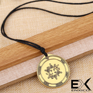 ENXICO Second Pentacle of Jupiter Seal of Solomon Talisman Pendant Necklace ? Silver Color