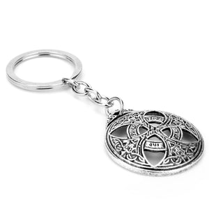 GUNGNEER Celtic Trinity Knots Infinity Pendant Necklace Cord Chain Cross Key Chain Jewelry Set