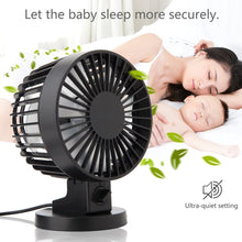 Load image into Gallery viewer, 2TRIDENTS Mini Noiseless USB Fan - Bring You A Soft Breeze - Great For Office, Home, Dorm, Library And More (Black)