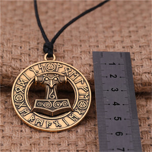 ENXICO Mjolnir Thor's Hammer Pendant Necklace with Surrounding Rune Circle ? Gold Color ? Nordic Scandinavian Viking Jewelry