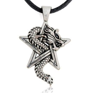 ENXICO Dragon with Pentagram Amulet Pendant Necklace ? Silver Color ? Wicca Pagan Witchraft Jewelry