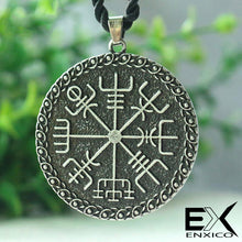 Load image into Gallery viewer, ENXICO Vegvisir The Viking Runic Compass Amulet Pendant Necklace ? Grey Color ? Norse Scandinavian Viking Jewelry