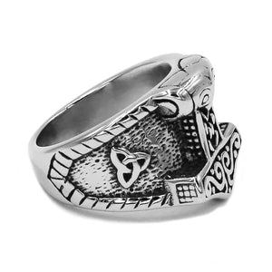 GUNGNEER Stainless Steel Norse Viking Axe Thor's Hammer Ring Bike Punk Jewelry Gift Set