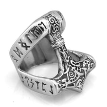 Load image into Gallery viewer, ENXICO Runic Thor's Hammer Mjolnir Ring ? 316L Stainless Steel ? Norse Scandinavian Viking Jewelry (10)