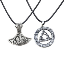 Load image into Gallery viewer, GUNGNEER 2 Pcs Celtic Triquetra Knot Viking Axe Pendant Necklace Leather Cord Chain Jewelry Set