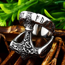 Load image into Gallery viewer, ENXICO Runic Thor's Hammer Mjolnir Ring ? 316L Stainless Steel ? Norse Scandinavian Viking Jewelry (13)