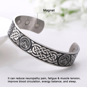 GUNGNEER Circular Celtic Knots Stainless Steel Pendant Necklace Infinity Bracelet Jewelry Set